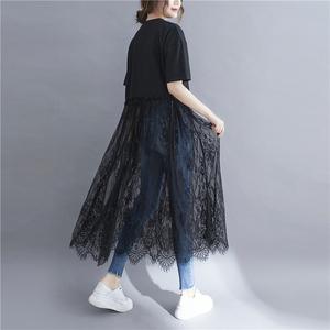 黑色拼接連身裙/網紗拼接洋裝